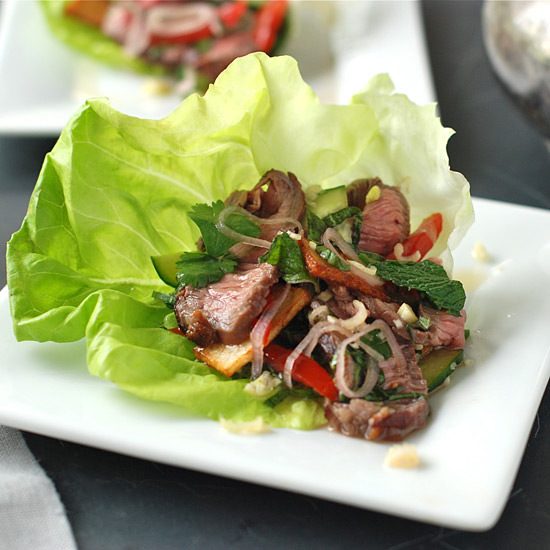 Thai-Style Spicy Grilled Beef Salad with Potato Crisps