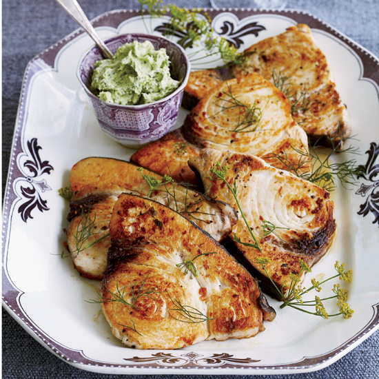 Grilled Swordfish with Lima-Bean-and-Herb Butter