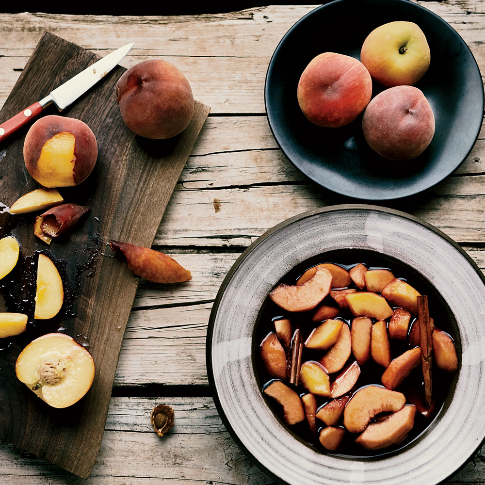 Red Wine–Macerated Peaches