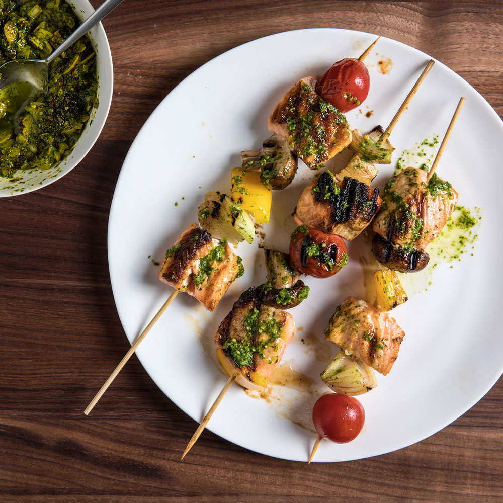 Salmon Skewers with Almond Charmoula