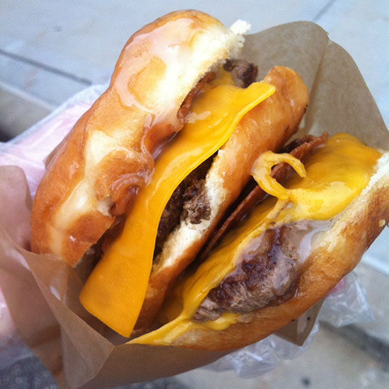 Crazy Over-the-Top Burger Topping: Donut Burger with Bacon & Cheese