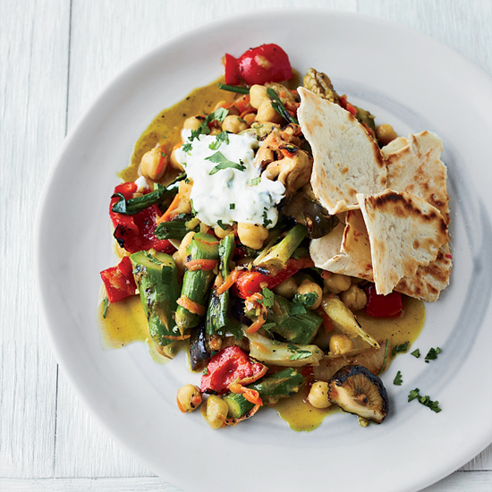 Curried Vegetables with Griddled Biscuit Roti