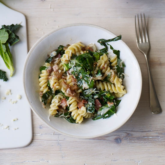 Pasta with Sautéed Spring Greens