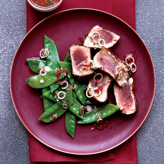 Spice-Crusted Tuna with Thai Snow Pea Salad