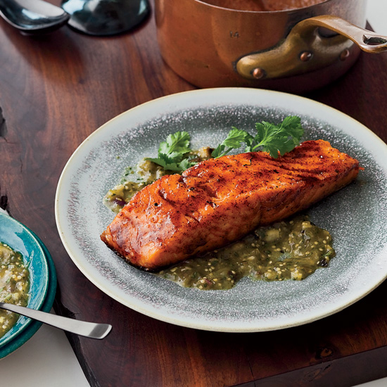Chile-Honey-Glazed Salmon with Two Sauces