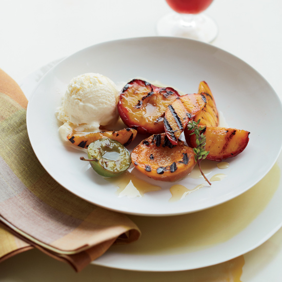 Grilled Fruit with Honeyed Lemon Thyme Vinegar