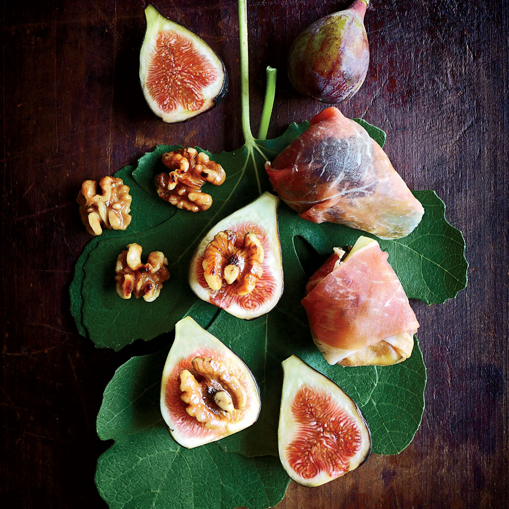 Grilled Figs with Ham, Walnuts, and Mint Cream