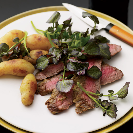 Wasabi flank steak and miso–glazed potatoes