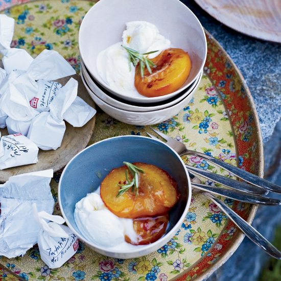 Roasted Peaches with Mascarpone Ice Cream
