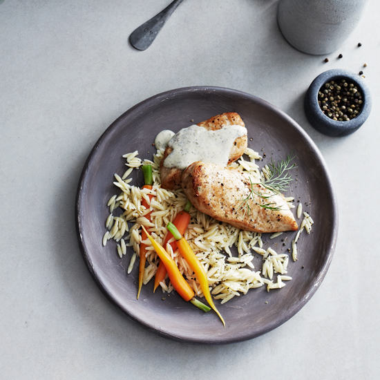 Chicken Breasts with Orzo, Carrots, Dill, and Sauce