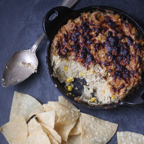 Healthy Artichoke Dip with Corn, Cayenne and Parmesan Cheese