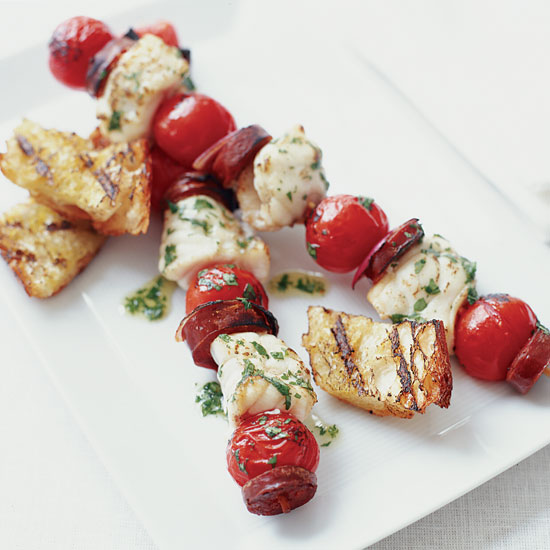 Monkfish and Chorizo Kebabs