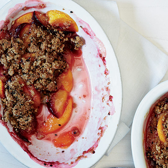 Peaches and Plums with Sesame Crumble