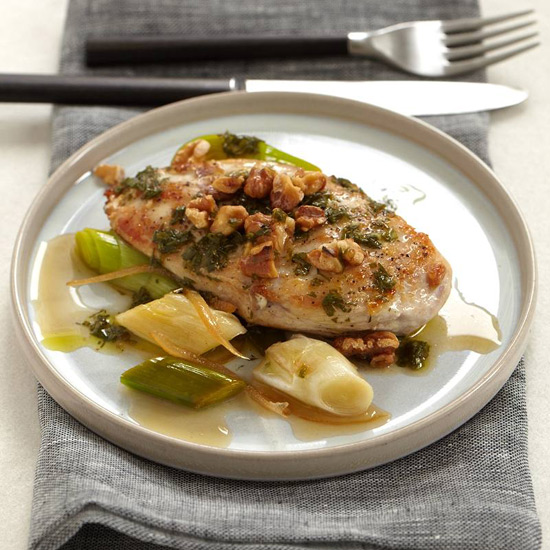 Chicken Breasts with Walnuts Leeks and Candied Lemon