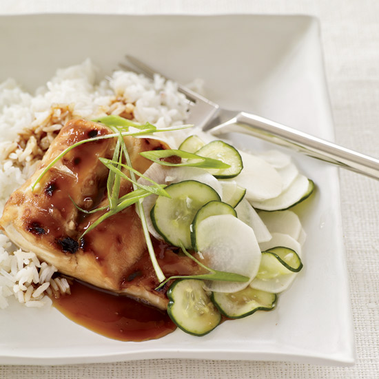 Fish Teriyaki with Sweet-and-Sour Cucumbers