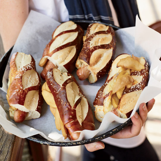 Hot Dogs with Cheddar and Sauteed Apples