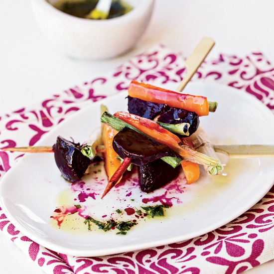 Roasted Beet, Carrot and Scallion Skewers with Tarragon