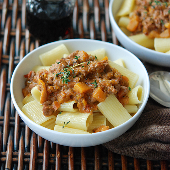 Rigatoni with Veal Bolognese and Butternut Squash