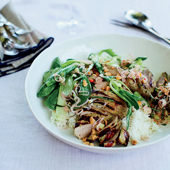 Grilled Pork with Coconut Rice and Lemongrass Sambal