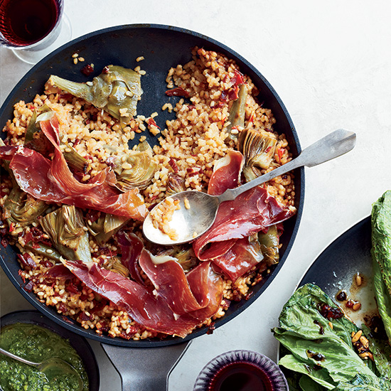 Iberian Ham and Artichoke Rice