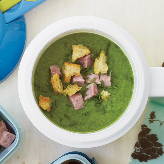 Sweet Pea Soup with Ham and Croutons