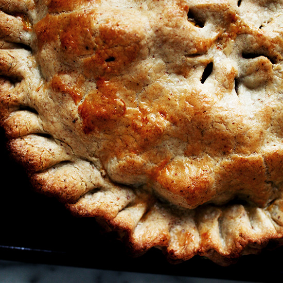 Apple-Raisin Pie with Walnut-Cream Cheese Crust