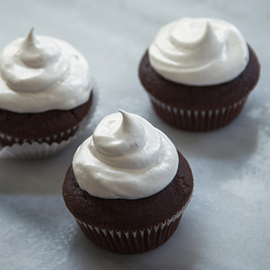 Hot Cocoa Cupcakes with Meringue Frosting