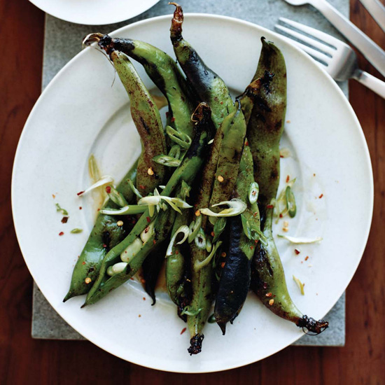 Grilled Fava Bean Pods with Chile and Lemon