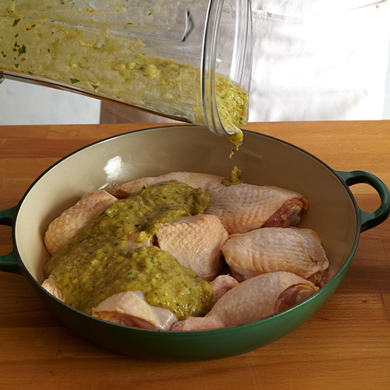 How to Make Tamales: Pour Sauce Over Chicken and Cook