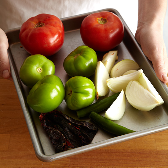 How to Make Tamales: Spread Vegetables on Baking Sheet