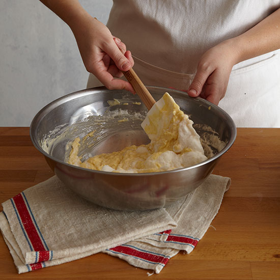How to Make Cheese Soufflé: fold in the egg whites