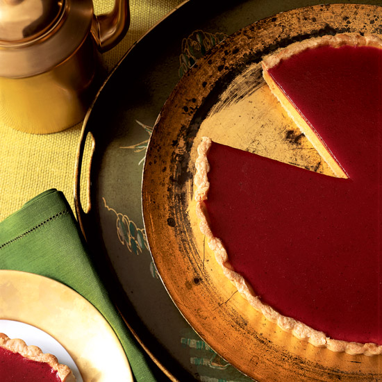 Pumpkin Cheesecake Tart with Cranberry Gelée