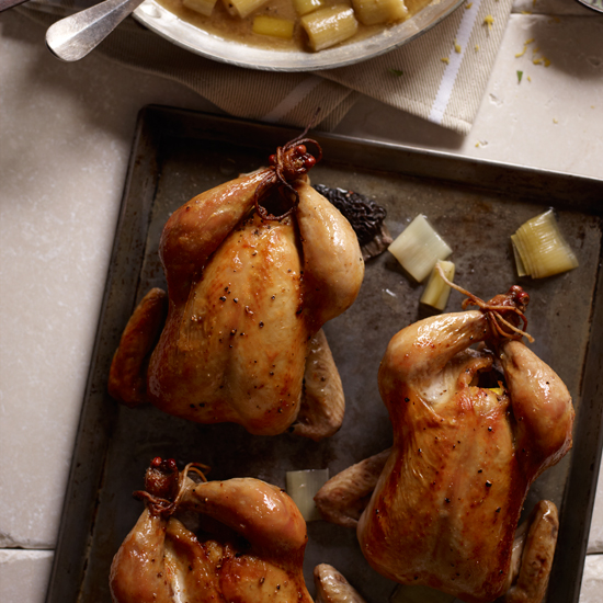 Roasted Cornish Hens with Morels and Leeks