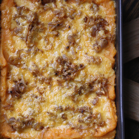 Mashed Sweet Potato Gratin with Smoked Gouda and Shallots