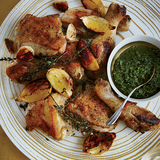 Roast Chicken with Walnut Pesto