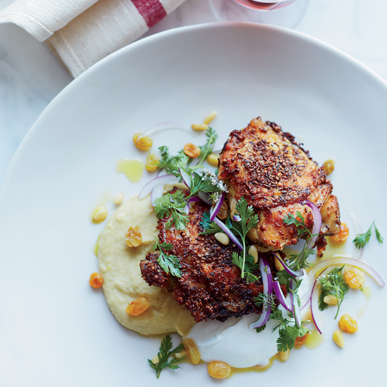 Spiced Chicken Thighs with Fava Puree and Yogurt