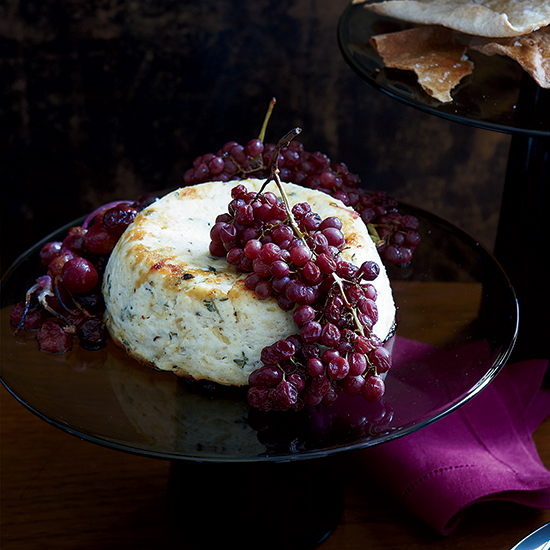 Warm Ricotta with Roasted Grapes