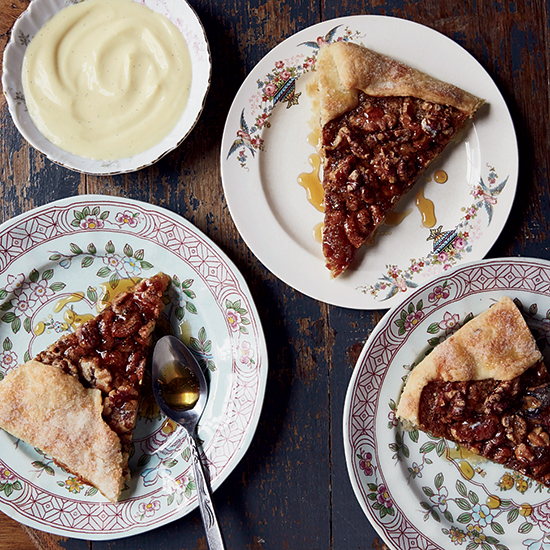 Walnut Galette with Bourbon-Vanilla Custard Sauce