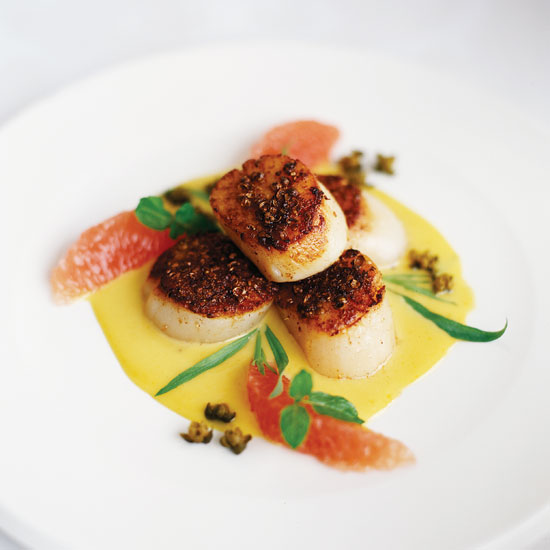 Spice-Crusted Scallops with Crisp Capers