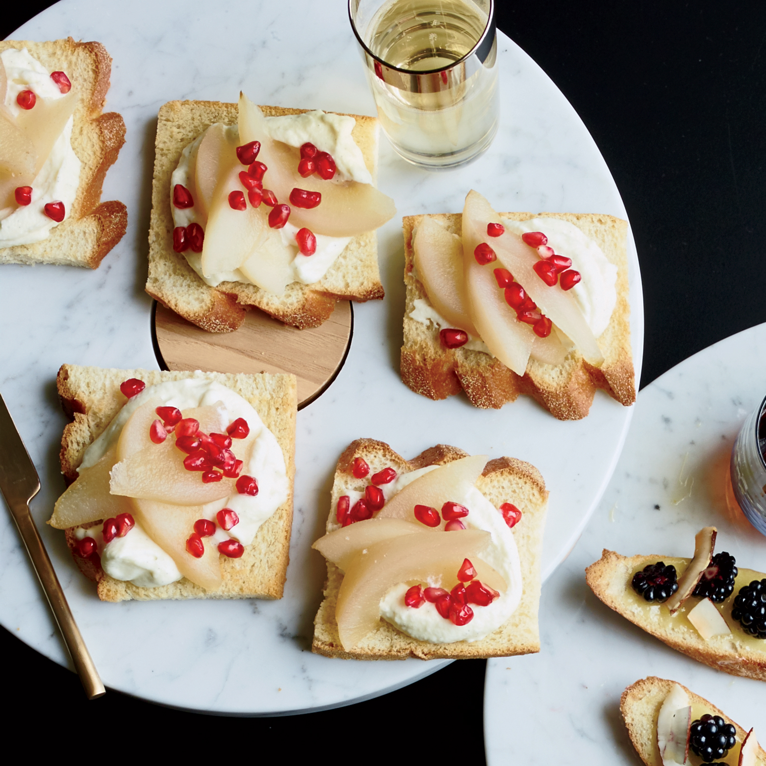 Whipped Vanilla Ganache Toasts with Pear and Pomegranate