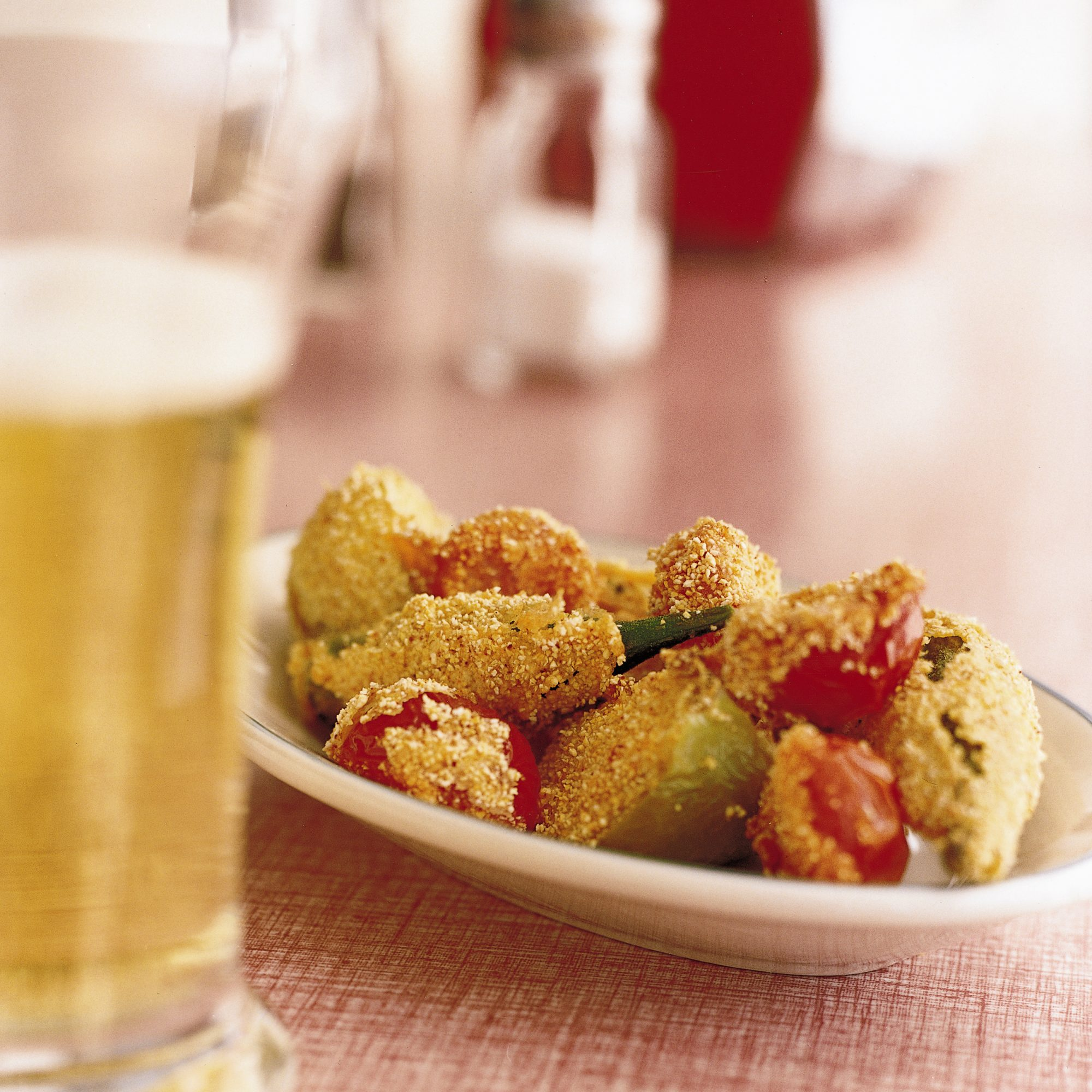 Cornmeal-Fried Okra, Tomatillos and Tomatoes