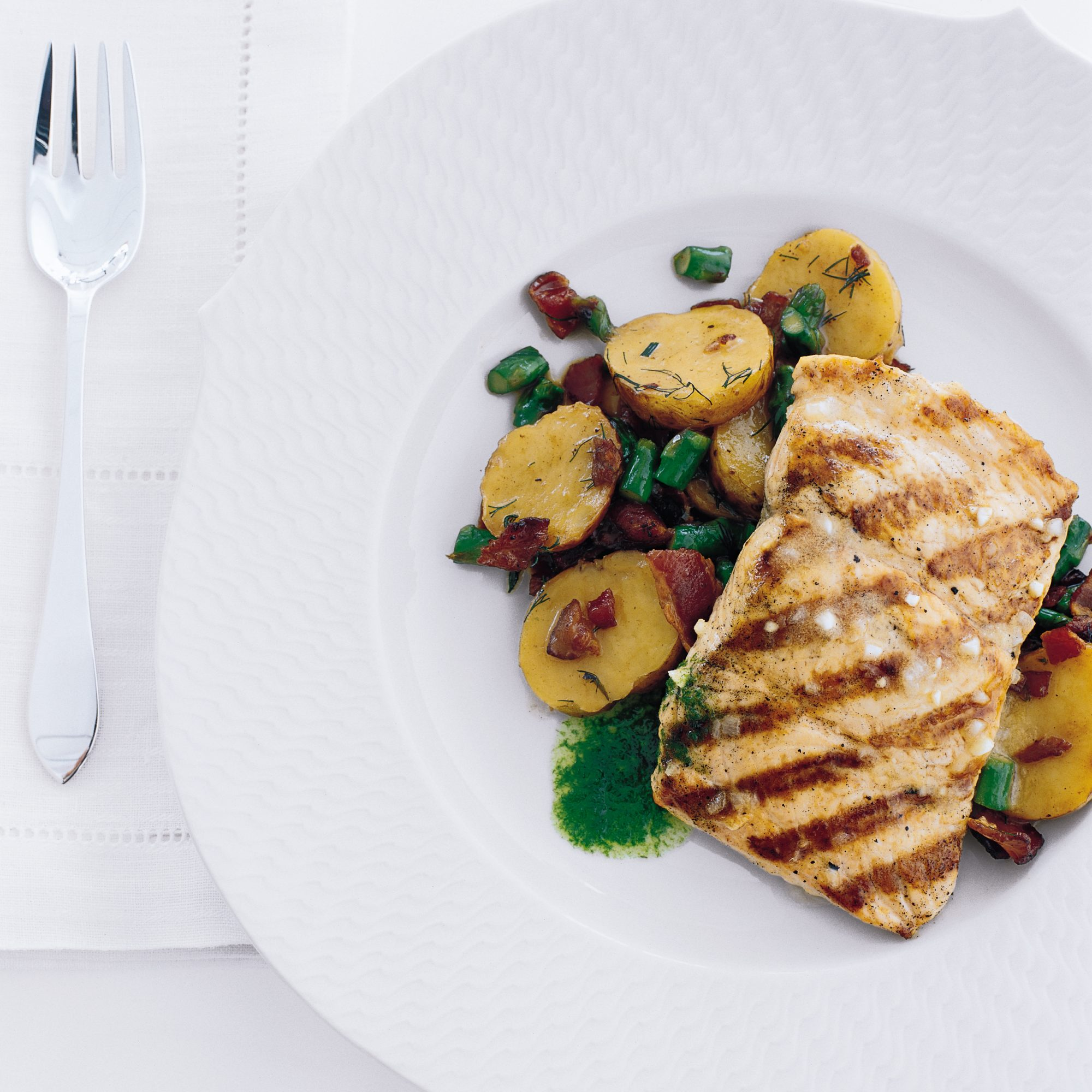 Curto's Grilled Salmon with Bacon and Potato Hash