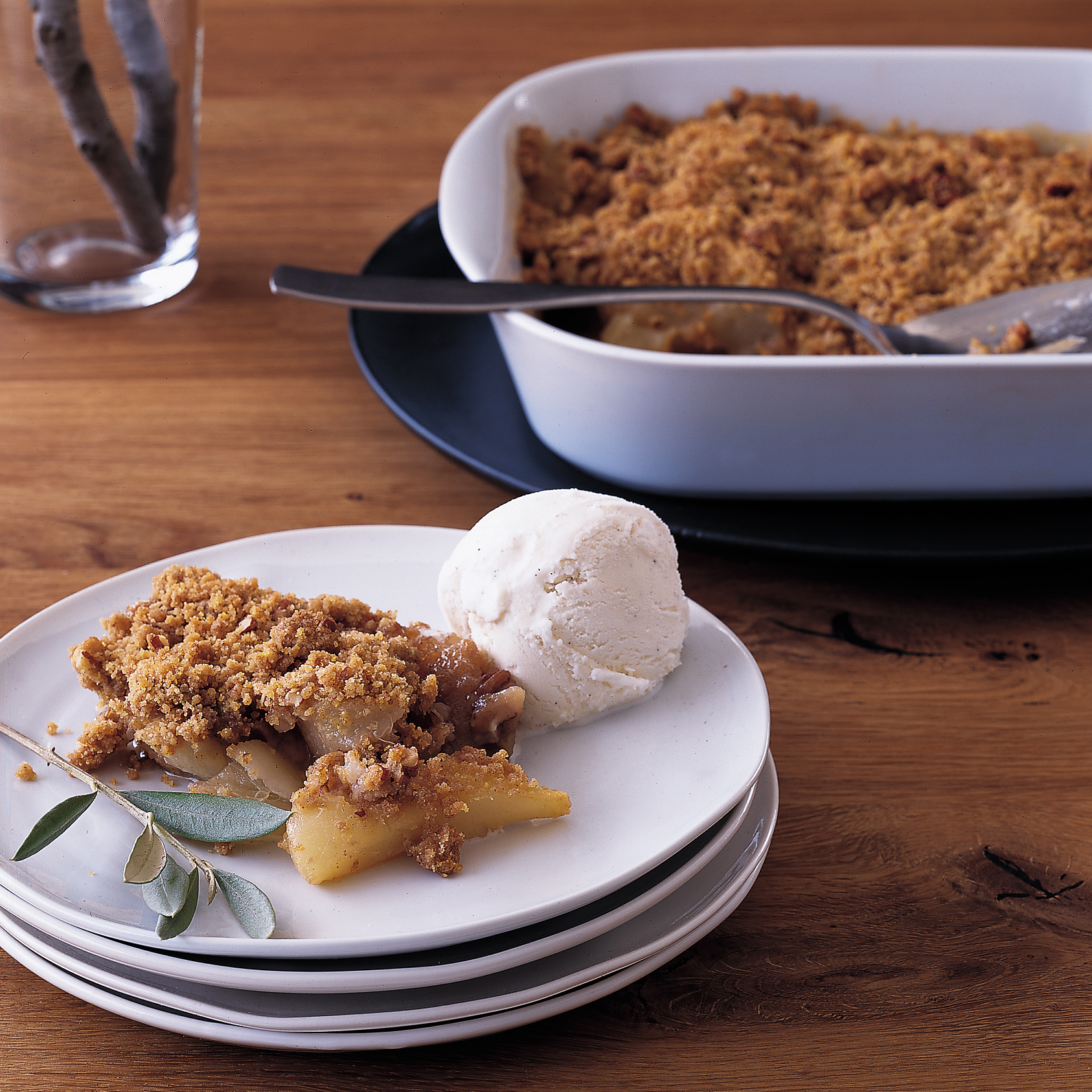 Pear Crisp with Polenta-Pecan Topping