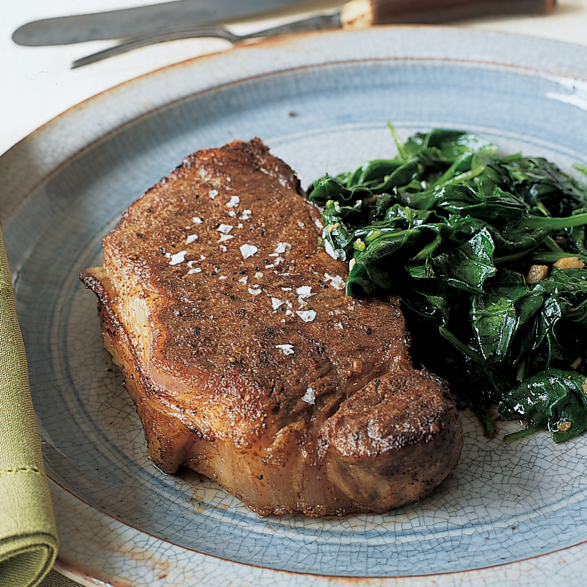 Spice-Rubbed Steaks with Spinach