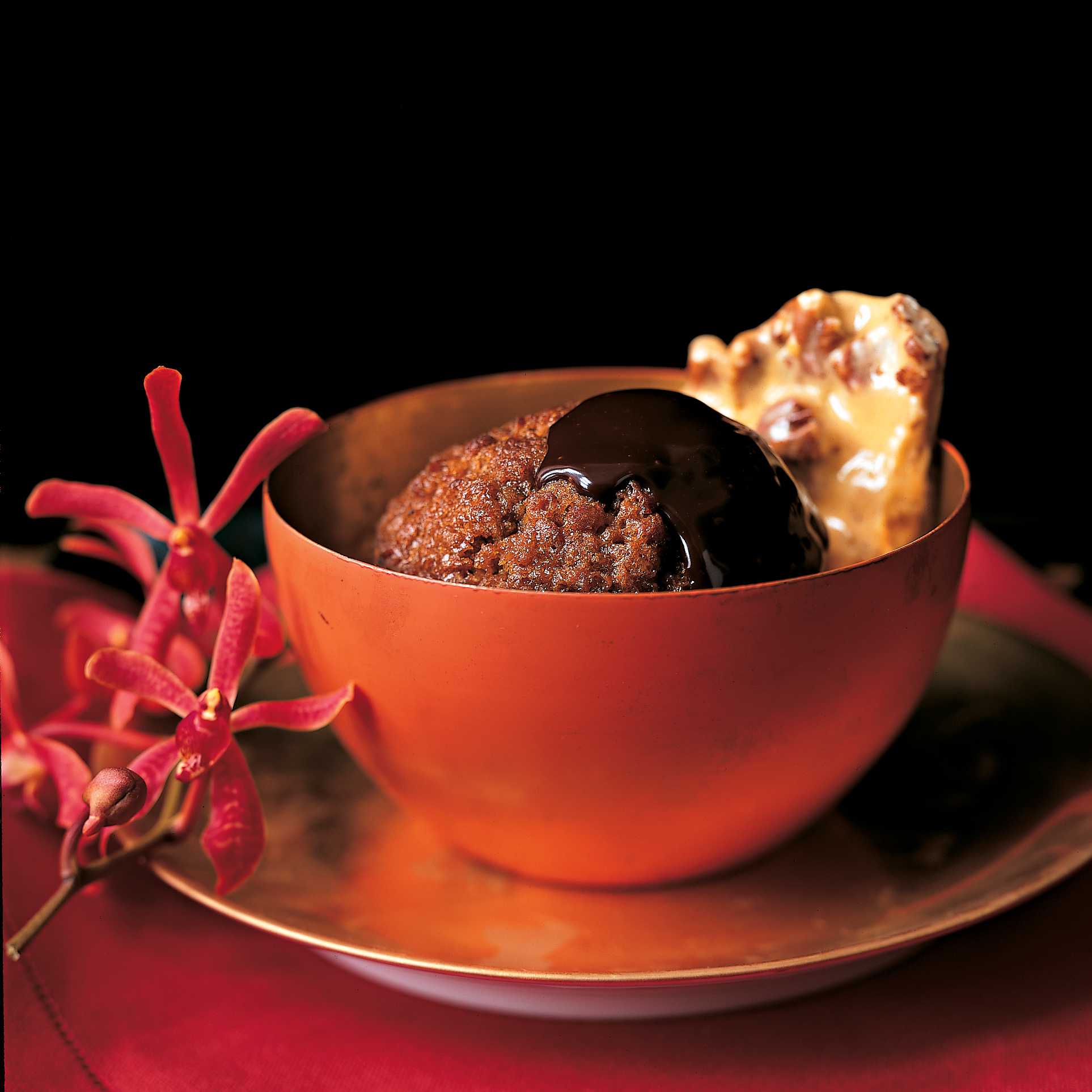 Ginger Puddings with Bittersweet Chocolate Sauce and Ginger Caramel Crunch
