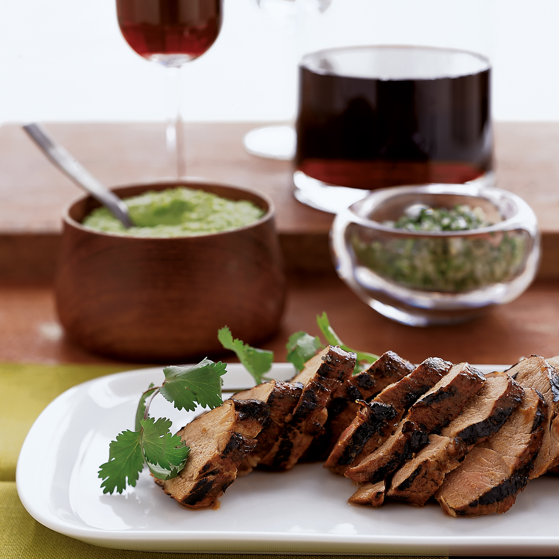 Guava-Glazed Pork Tenderloin with Cilantro-Jalapeño Salsa