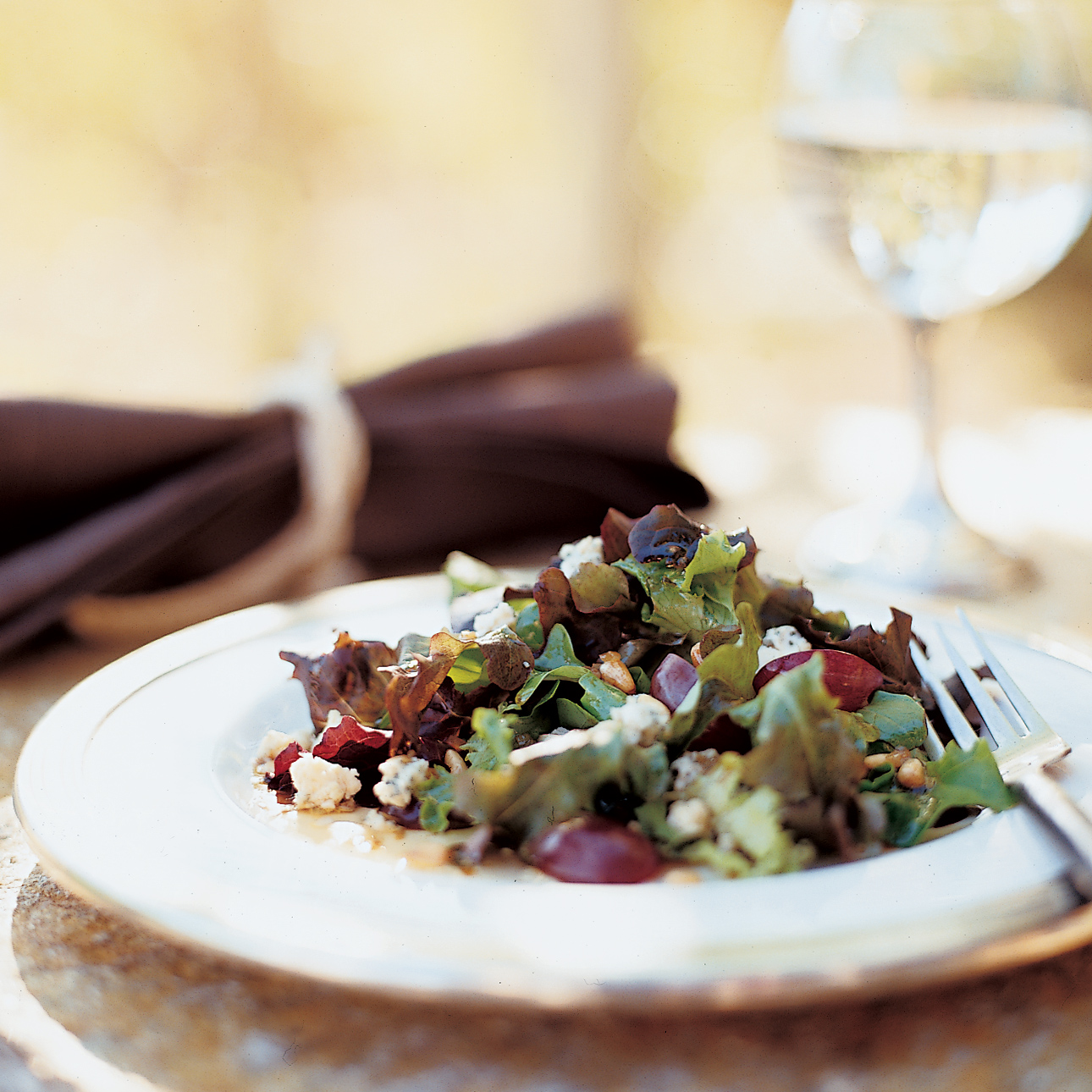Oak Leaf Lettuce Salad with Cabrales and Red Grapes