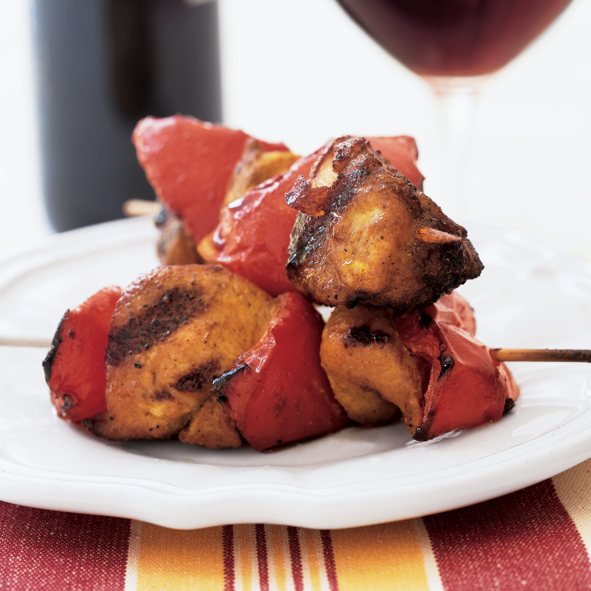 Curried Chicken and Red Pepper Kebabs