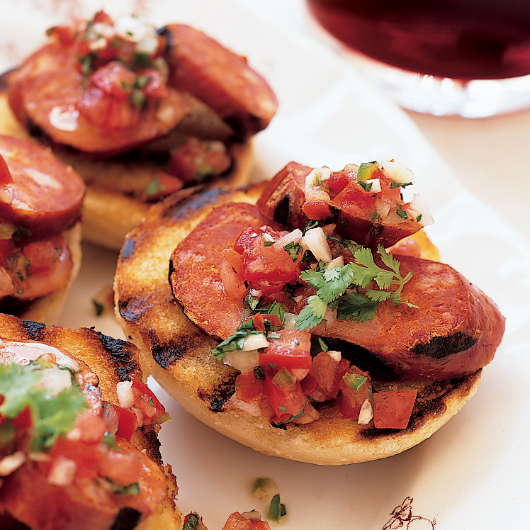 Grilled Chorizos with Salsa