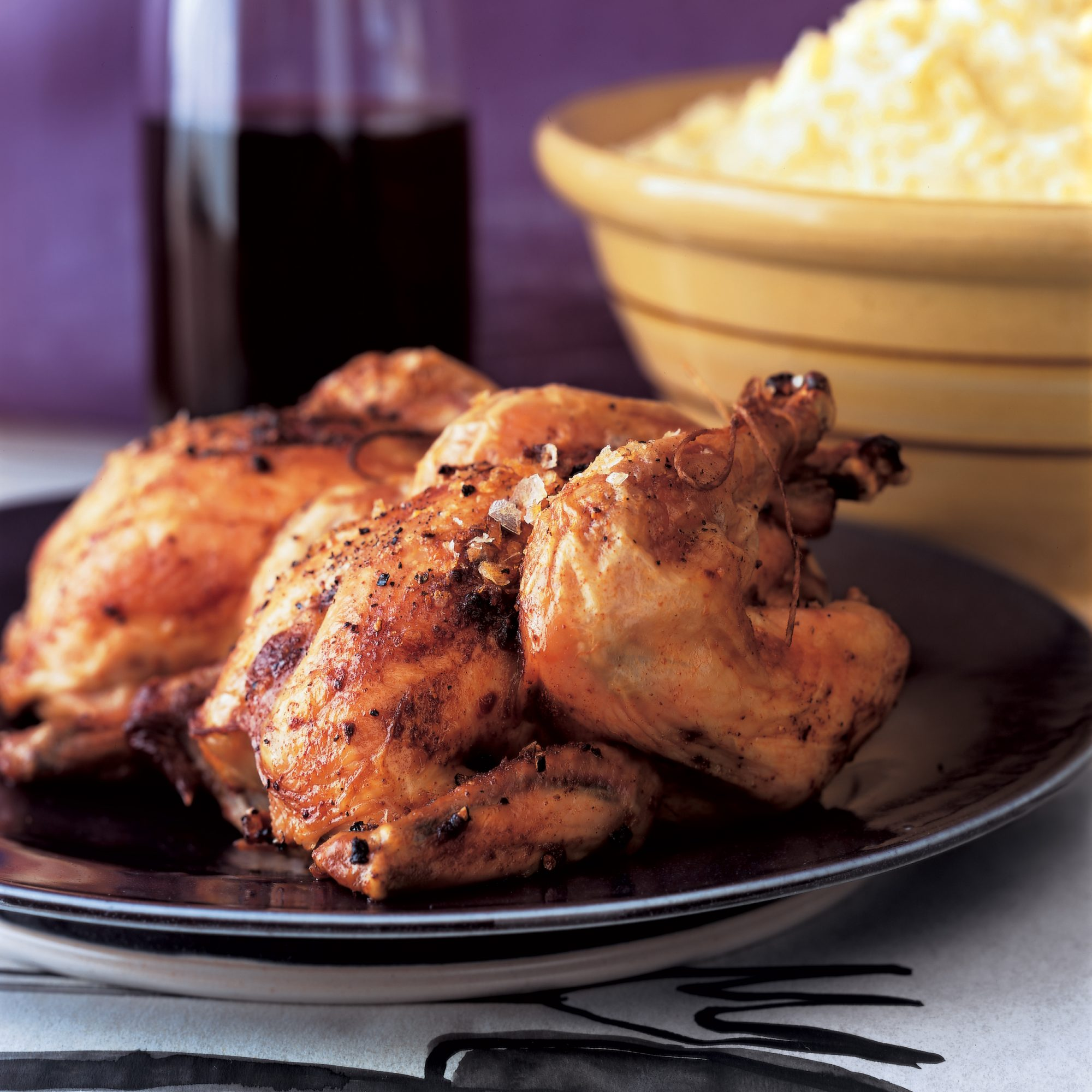Roasted Poussins with Anchovy-Mustard Pan Sauce